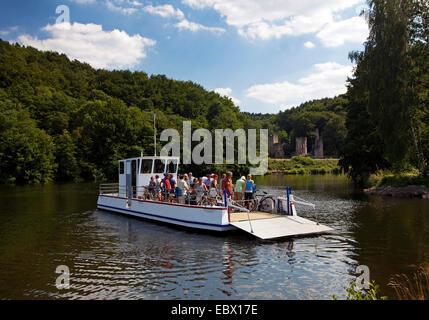 new Ruhr ferry at castle ruin Hardenstein, Germany, North Rhine-Westphalia, Ruhr Area, Witten - Stock Photo