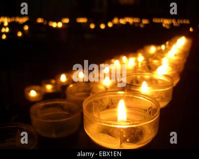 memorial candles in a church - Stock Photo