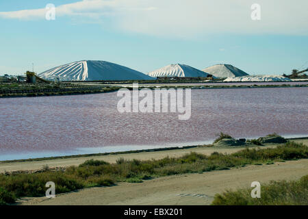 sea salt production in the salines of Salins-du-Midi, France, Aigues-Mortes, Camargue - Stock Photo