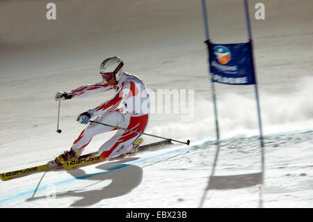 telemark in Tignes ski resort, north Alps mountains at knight, France - Stock Photo