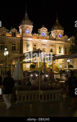 casino in Monte Carlo at night, France, Monaco - Stock Photo