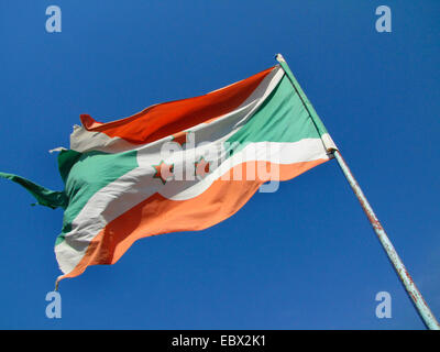 damaged burundian flag at the festivities for the International Day of Human Rights (10 December 2009), celebrated - Stock Photo