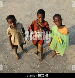 street kids playing on the yard of a university, Burundi, Bujumbura mairie, Kiriri, Bujumbura - Stock Photo