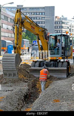 construction site in the Kampstrasse in the city of Dortmund, Germany, North Rhine-Westphalia - Stock Photo