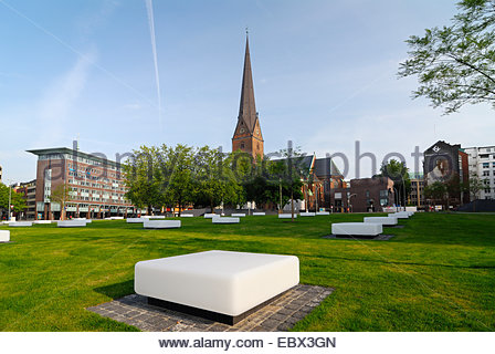 kathedral's place in the old town with the rooflight of an underground car park and St. Petri church, Germany, Hamburg - Stock Photo