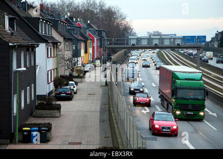 Ruhrschnellweg, highway A40 in Essen downtown, Germany, North Rhine-Westphalia, Ruhr Area, Essen - Stock Photo