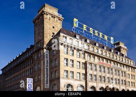 handelshof with label 'Essen die Einkaufsstadt' and 'Kulturhauptstadt Europas' in Essen city, Germany, North Rhine - Stock Photo