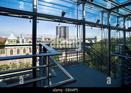 view from adult education center at Essen cathedral, town hall and Old Synagogue, Germany, North Rhine-Westphalia, - Stock Photo