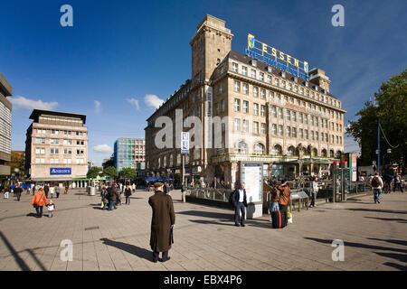 people in fron of the handelshof with label 'Essen die Einkaufsstadt, Germany, North Rhine-Westphalia, Ruhr Area, - Stock Photo