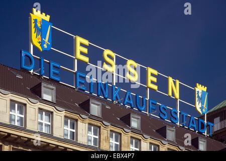 Handelshof with label 'Essen die Einkaufsstadt' (city of shopping) in Essen downtown, Germany, North Rhine-Westphalia, - Stock Photo