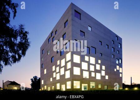 Zollverein School of Management and Design at blue hour, Germany, North Rhine-Westphalia, Ruhr Area, Essen - Stock Photo