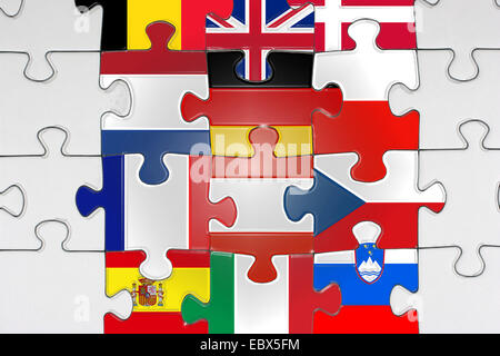 Jigsaw with flags of EU - Stock Photo