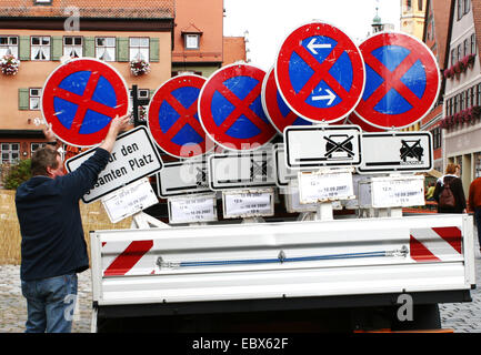 road signs on a lorry - Stock Photo