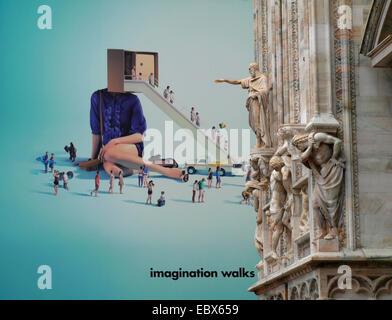 modern advertising at Milano cathedral, Italy, Milan - Stock Photo