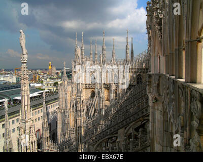 view from Milan cathedral, Italy, Milan - Stock Photo