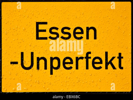 artifical place name sign of Unperfekthaus in Essen, cultural centre, Germany, North Rhine-Westphalia, Ruhr Area, - Stock Photo