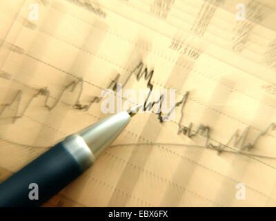 economic charts with ball-pen - Stock Photo