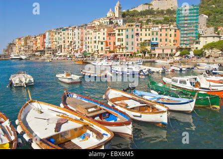 view from harbour at the city promenade, Italy, Portovenere - Stock Photo