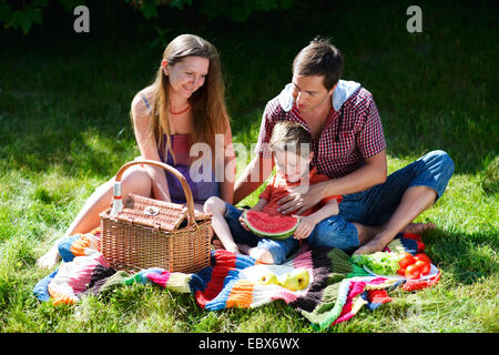 Young family having picnic on summer sunny day - Stock Photo