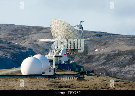 anntenna system of the German Research Centre for Geosciences Portsdam, Norway, Svalbard, Ny Alesund - Stock Photo