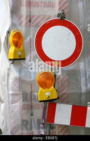 no crossing sign at a construction site - Stock Photo
