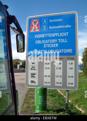 toll on Austrian motorways, information sign with costs - Stock Photo