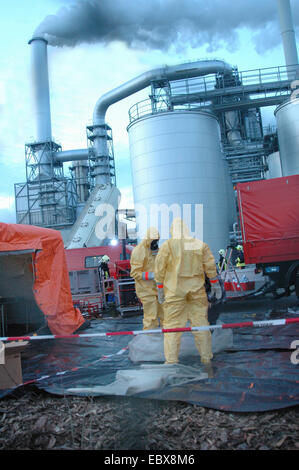 exercise for protection of labour during a chemical accident - Stock Photo