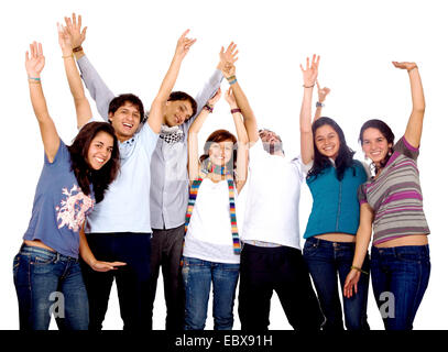 happy group of friends with arms up - Stock Photo