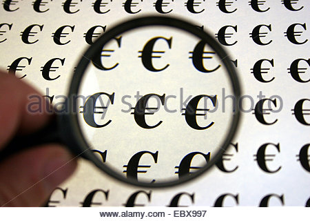 Euro under the magnifying glass - Stock Photo