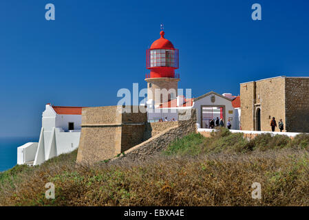 Portugal, Algarve: Lighthouse Saint Vincent at Cape St. Vincent at the west coast Costa Vicentina - Stock Photo