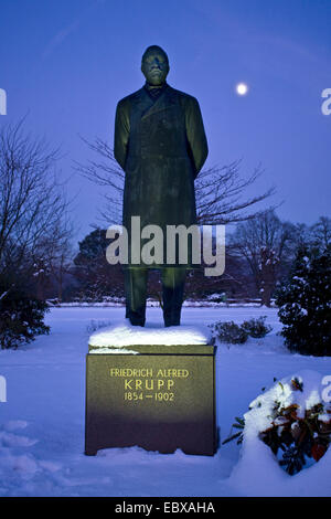 statue of Friedrich Alfried Krupp (1854-1902) in front of Villa Huegel, Germany, North Rhine-Westphalia, Ruhr Area, - Stock Photo