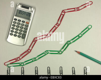 paperclips and calculator - Stock Photo