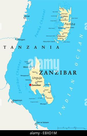 Zanzibar Political Map - Stock Photo