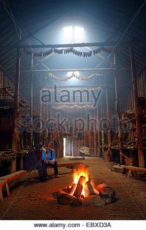 Replica of an Iroquois Native American Indian Longhouse, Canada, Ontario - Stock Photo