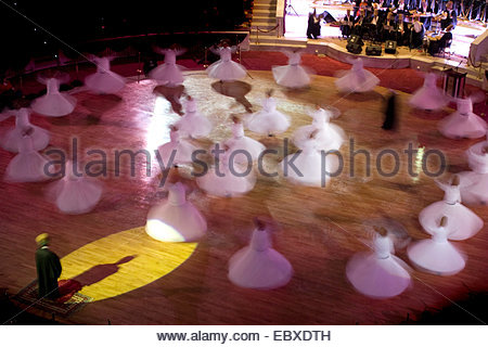 the whirling dervishes in Konya, Turkey during the Mevlana Festival which takes place every early December, Turkey - Stock Photo