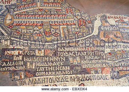 Mosaic map of Holy Land (560), St. George greek Orthodox church, Jordan, Madaba - Stock Photo