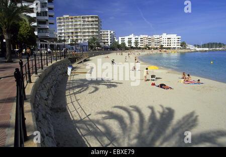 beach and hotels in St. Eularia des Riu, Spain, Balearen, Ibiza - Stock Photo