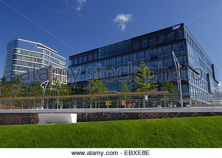 modern office building of SAP and Kuehne und Nagel in the harbourcity of Hamburg, Germany - Stock Photo