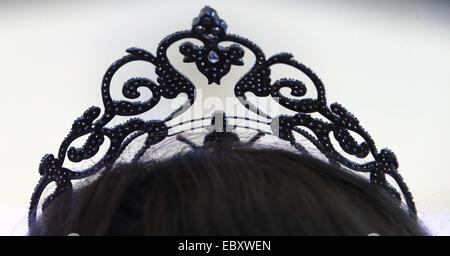 The sought-after crown of the 'Miss Intercontinental 2014' beauty contest is on display at the venue in Magdeburg, - Stock Photo