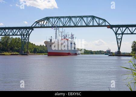 museum cargo ship MV Cap San Diego goes on the Kiel Canal, Germany, Schleswig-Holstein - Stock Photo