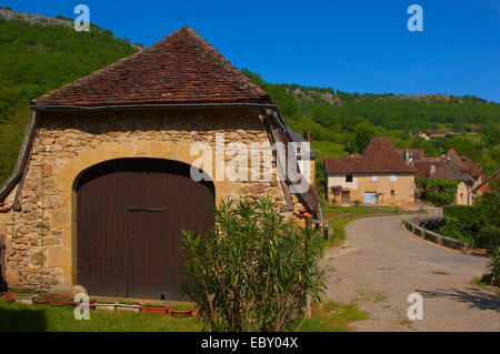 Autoire, labelled as a Les Plus Beaux Villages de France, Midi-Pyrenees Region, Lot Department, France, Europe - Stock Photo