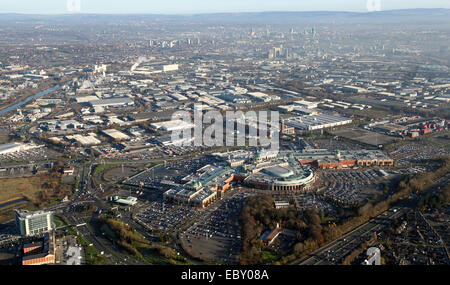 aerial view of the Trafford Centre with the Manchester city skyline in the background, UK - Stock Photo