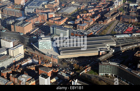 aerial view of Piccadilly Railway Station in Manchester, UK - Stock Photo