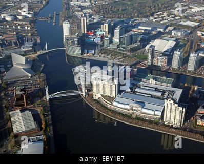 aerial view of the BBC and MediaCity in Salford Quays, Manchester, UK - Stock Photo
