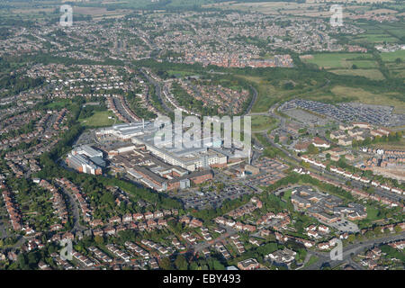 An aerial view of western Derby showing the residential areas around the Royal Derby Hospital - Stock Photo