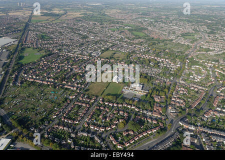 An aerial view of western Derby showing the residential areas to the south of Derby City Centre - Stock Photo