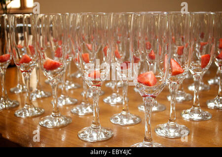 Strawberries in champagne glasses. - Stock Photo