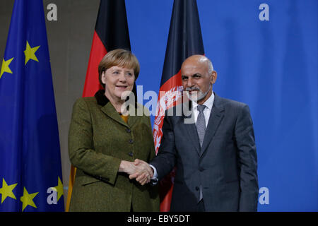 Berlin, Germany. 05th Dec, 2014. Aschraf Ghani Ahmadsai, President of Afghanistan, and the German Chancellor Angela - Stock Photo