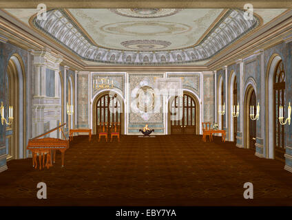 3D illustration of a beautiful fairytale ballroom with a piano, a fireplace, candles, tables and chairs - Stock Photo