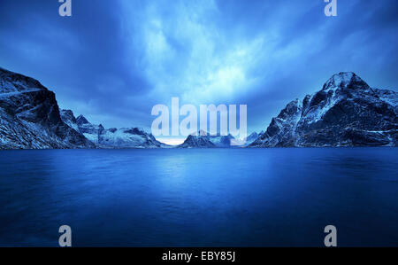 Blu Hours in the Bay of Reine in Lofoten Islands, Norway. - Stock Photo